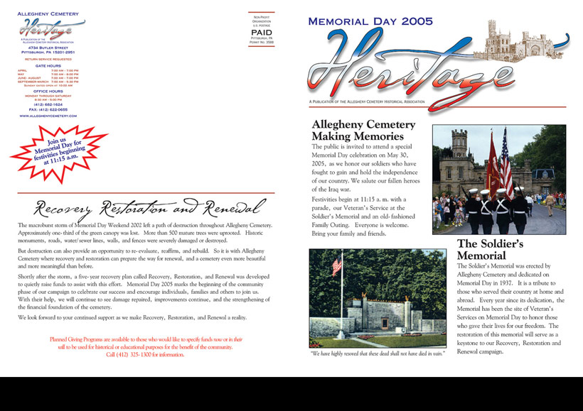 Allegheny Cemetery - Heritage Newsletter 2005